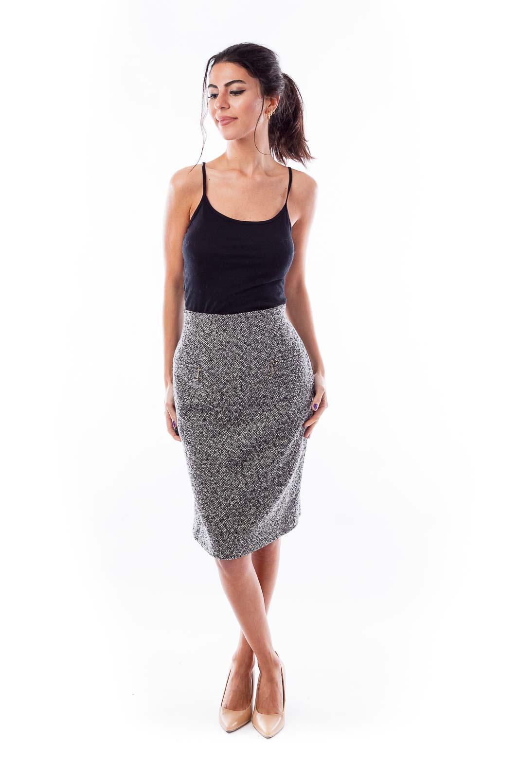 Black &  White Tweed High Waisted Skirt