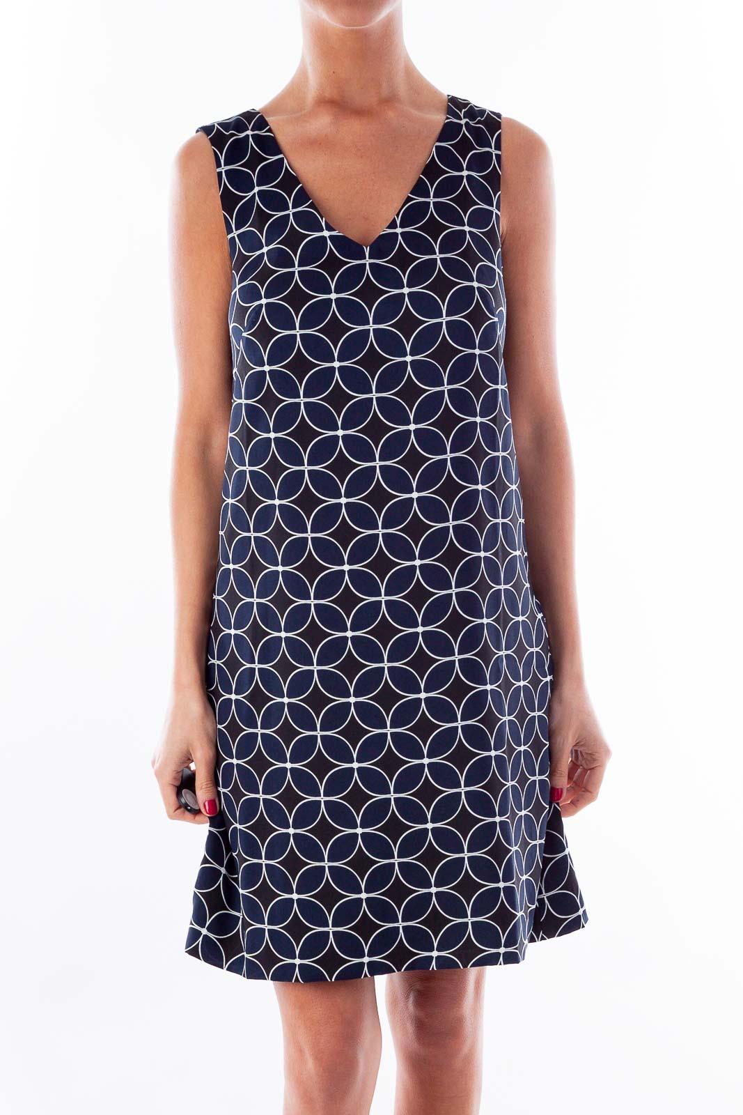 Navy & Black Circle Print Shift Dress