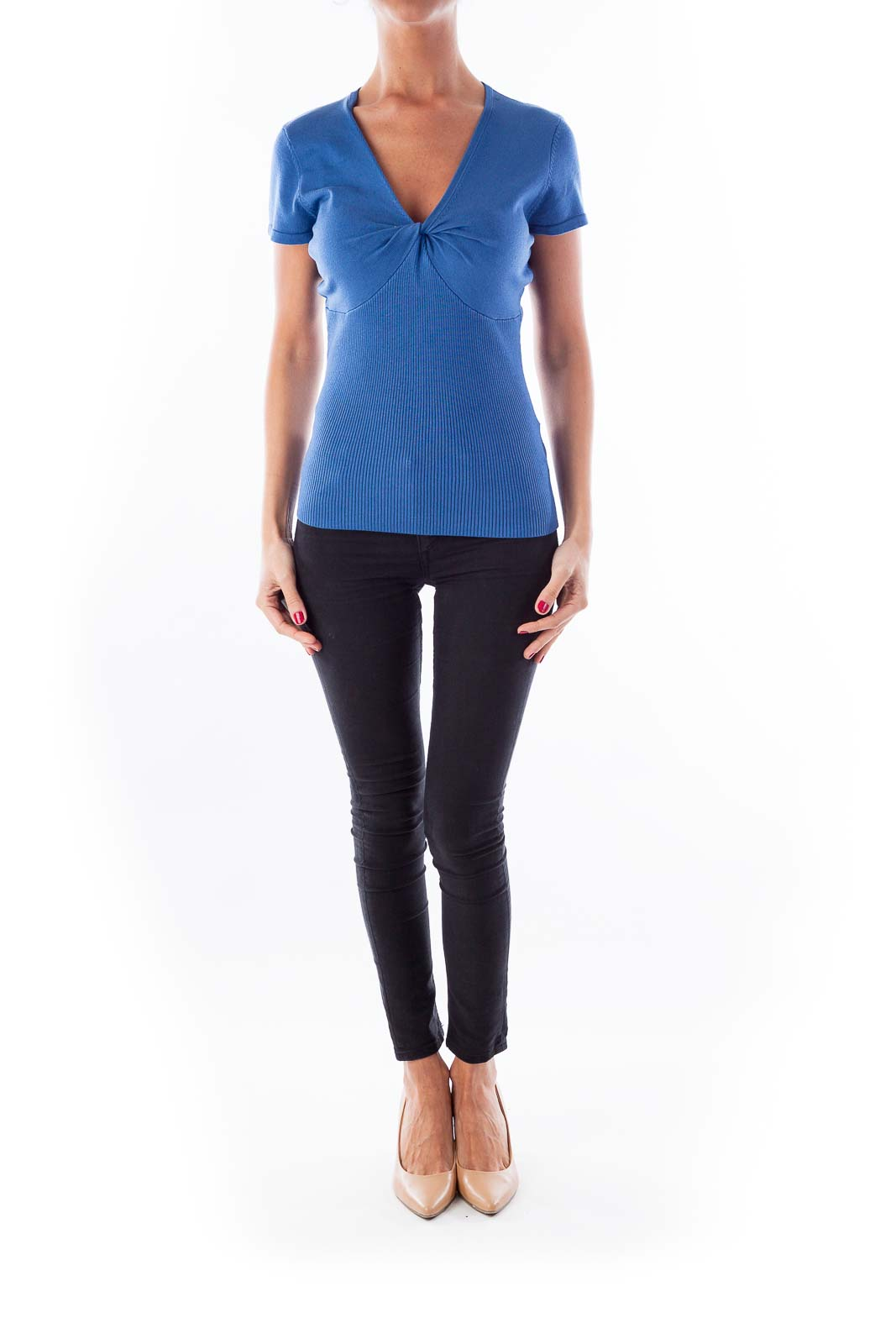 Blue Fitted Knit Top