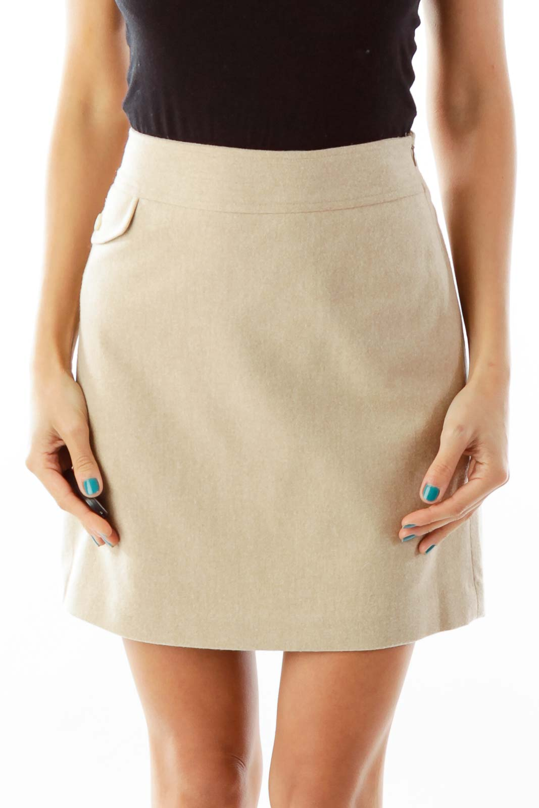 Beige Wool Mini Skirt