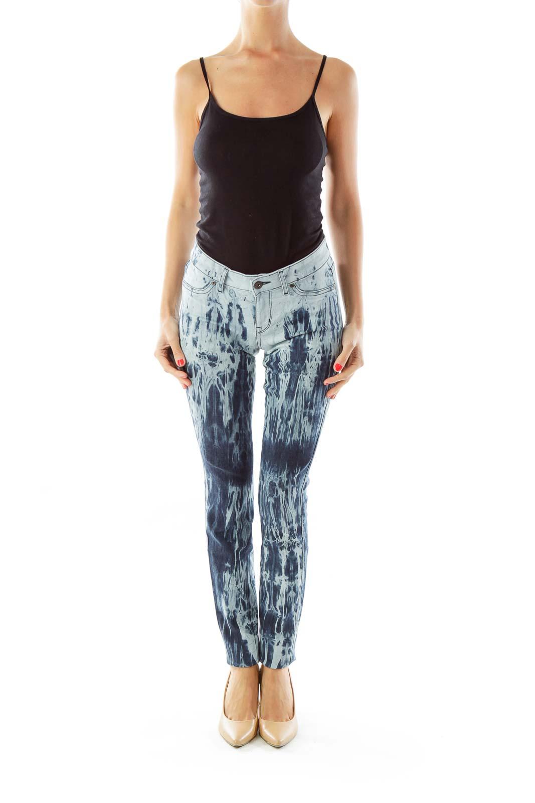 Navy Tie Dye Skinny Jeans