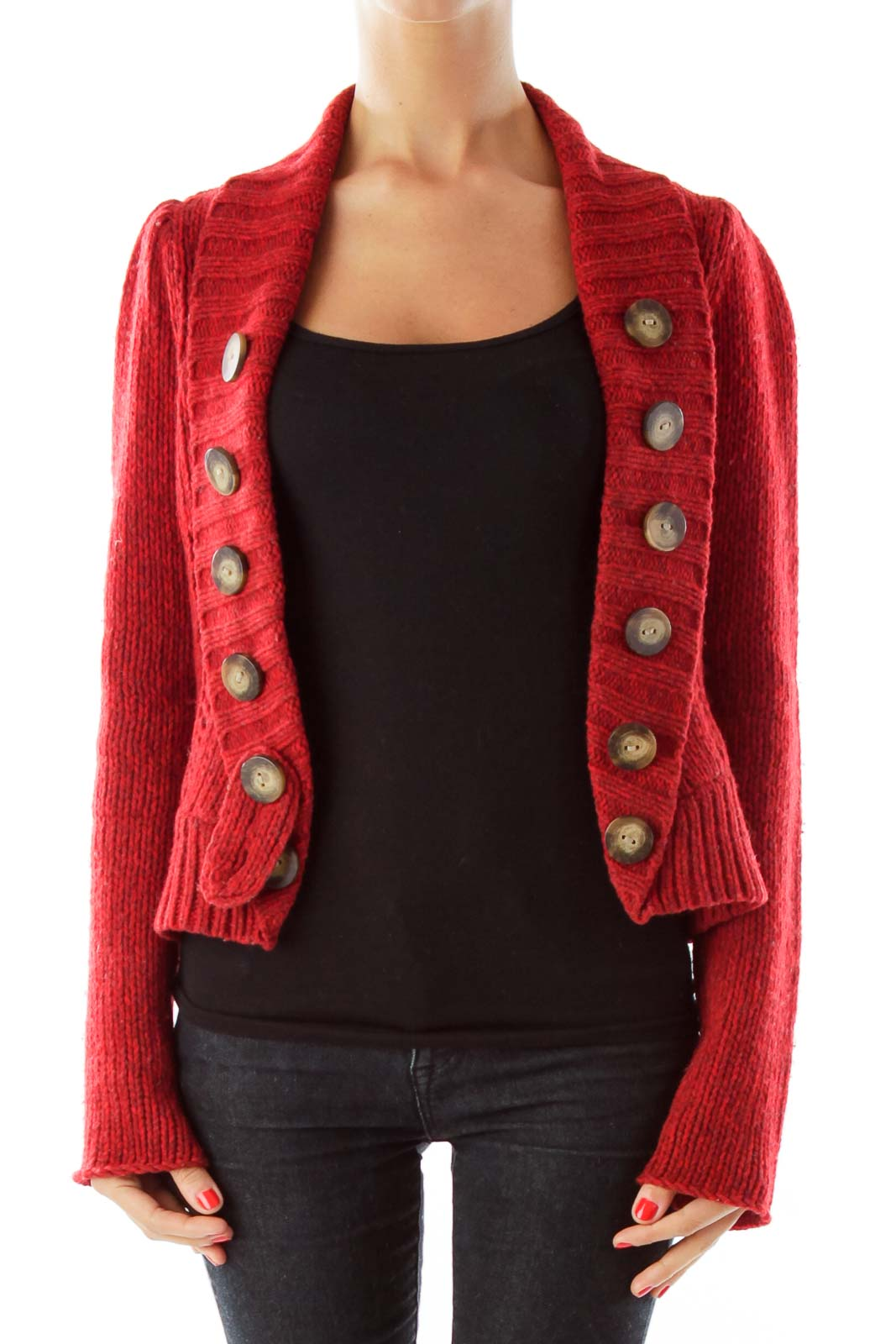 Red Wool Buttoned Sweater