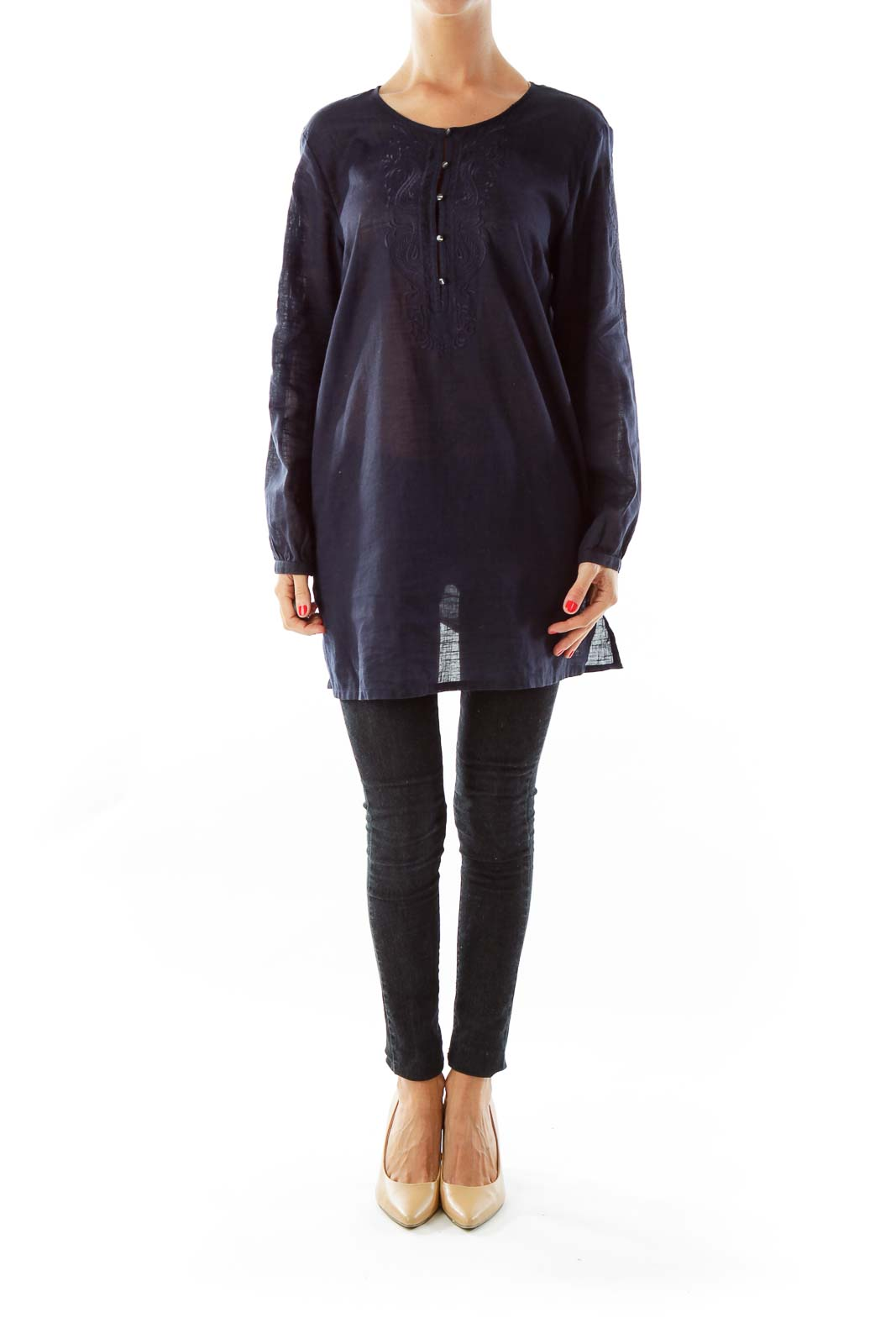 Navy Embroidered Tunic