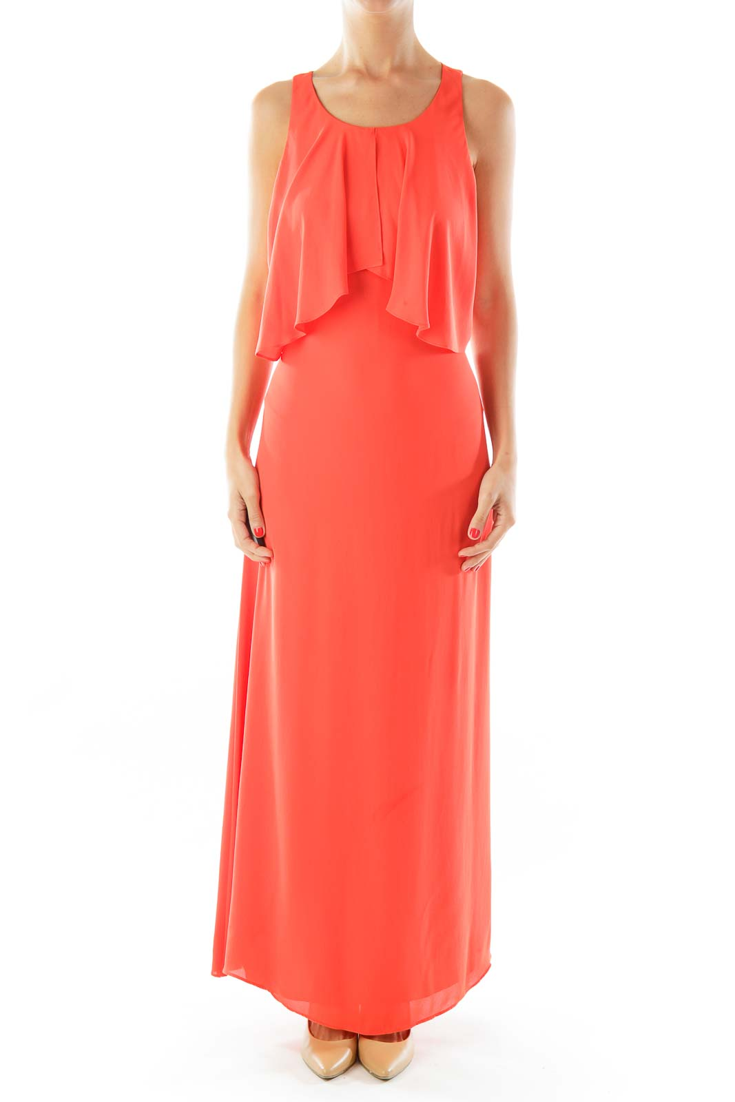 Orange Sleeveless Open-Back Maxi Dress