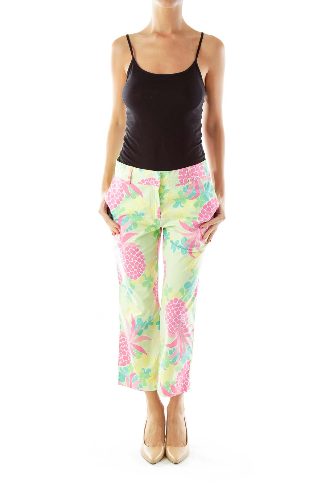 Green Pink Yellow Cropped Pants