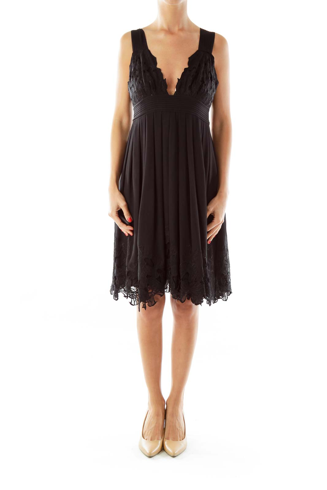 Black Embroidered Cocktail Dress