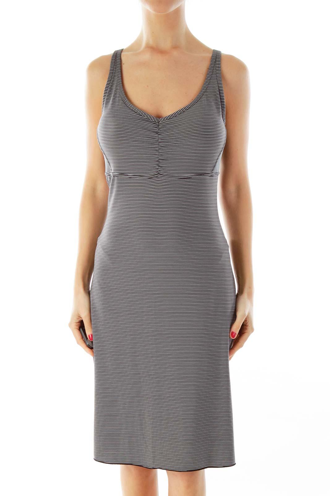 Black & White Pinstripe Athletic Dress