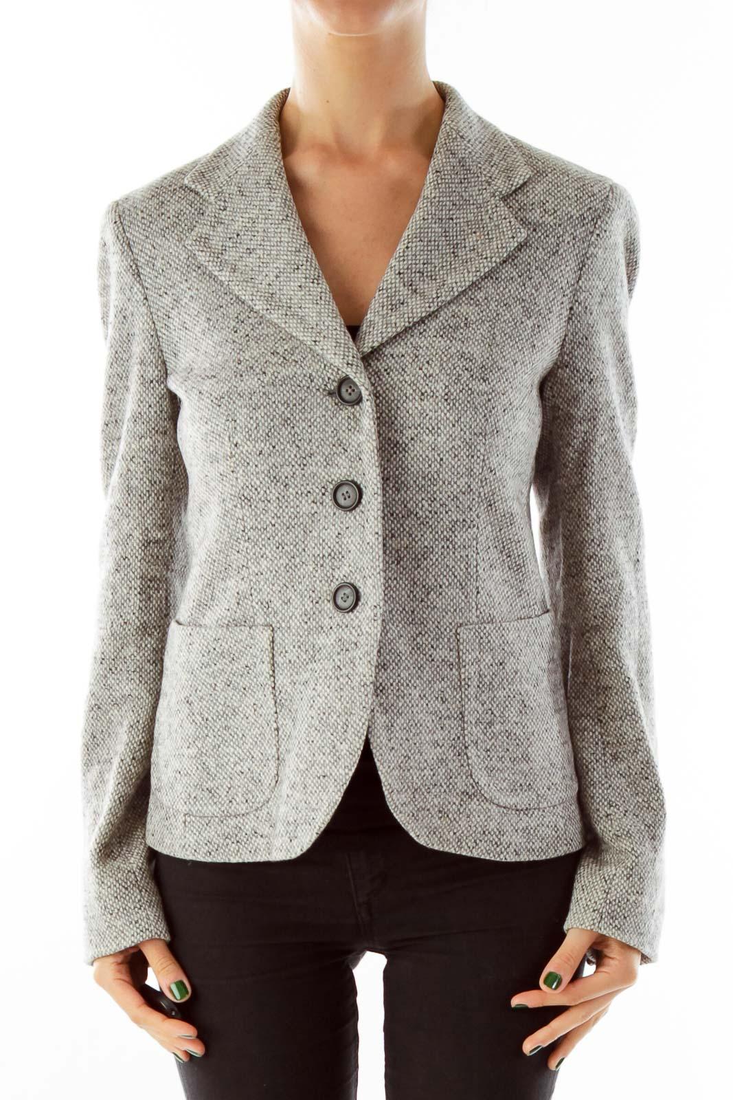 Gray Mottled Wool Blazer
