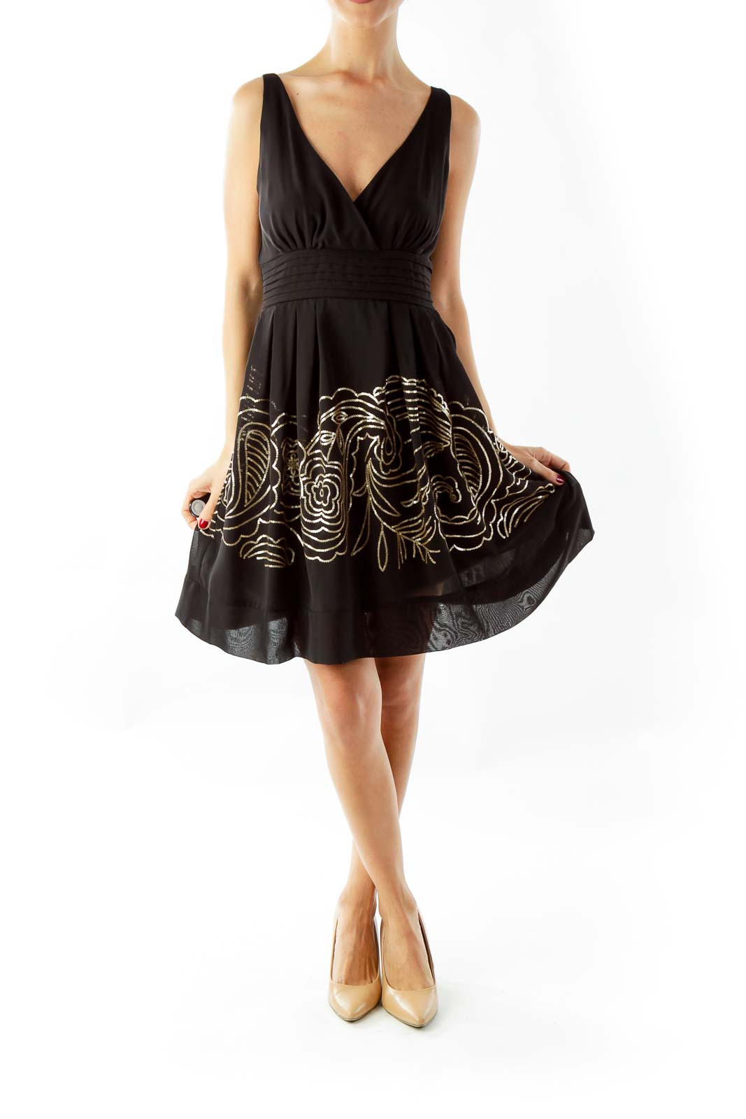 Black & Gold Sequined Dress