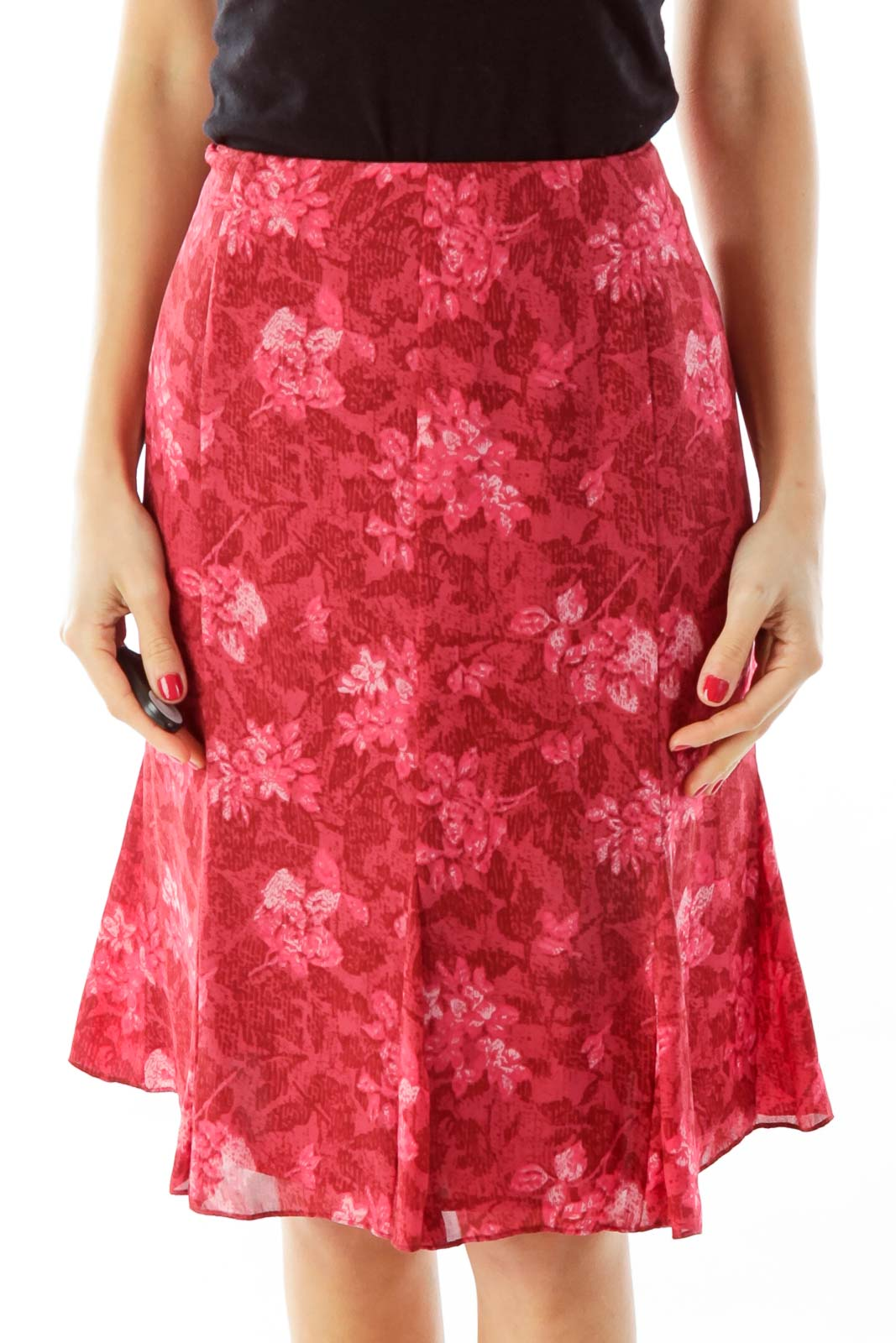 Red Flower Print Flared Skirt