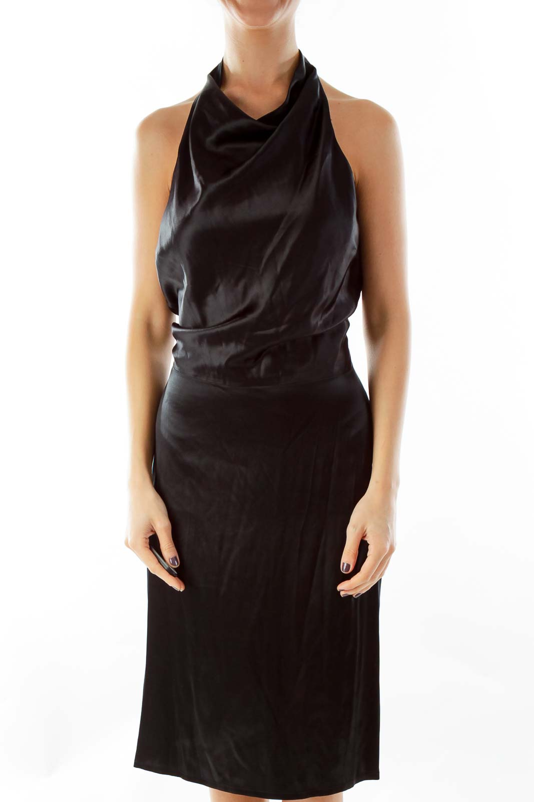 Black Silk Open-Back Dress