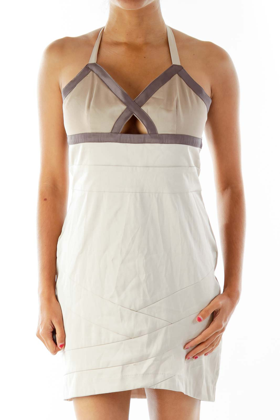 Brown Fitted Bandage-Wrap Cocktail Dress