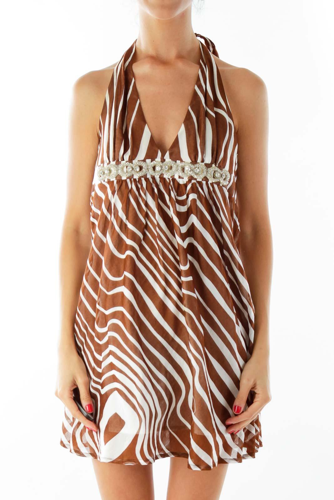 Brown Creme Zebra Print Halter Dress