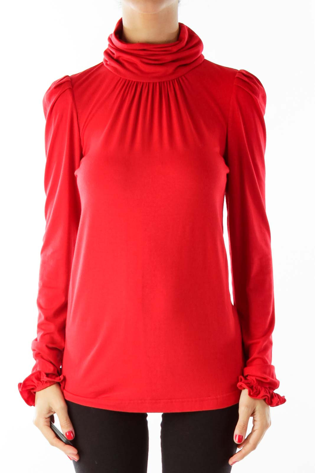 Red Ruffled Sleeve Turtle Neck