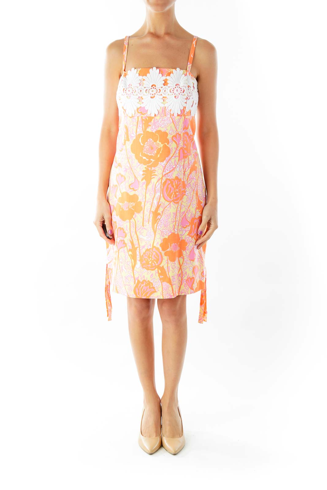 Pink Orange Embroidered Detail Day Dress