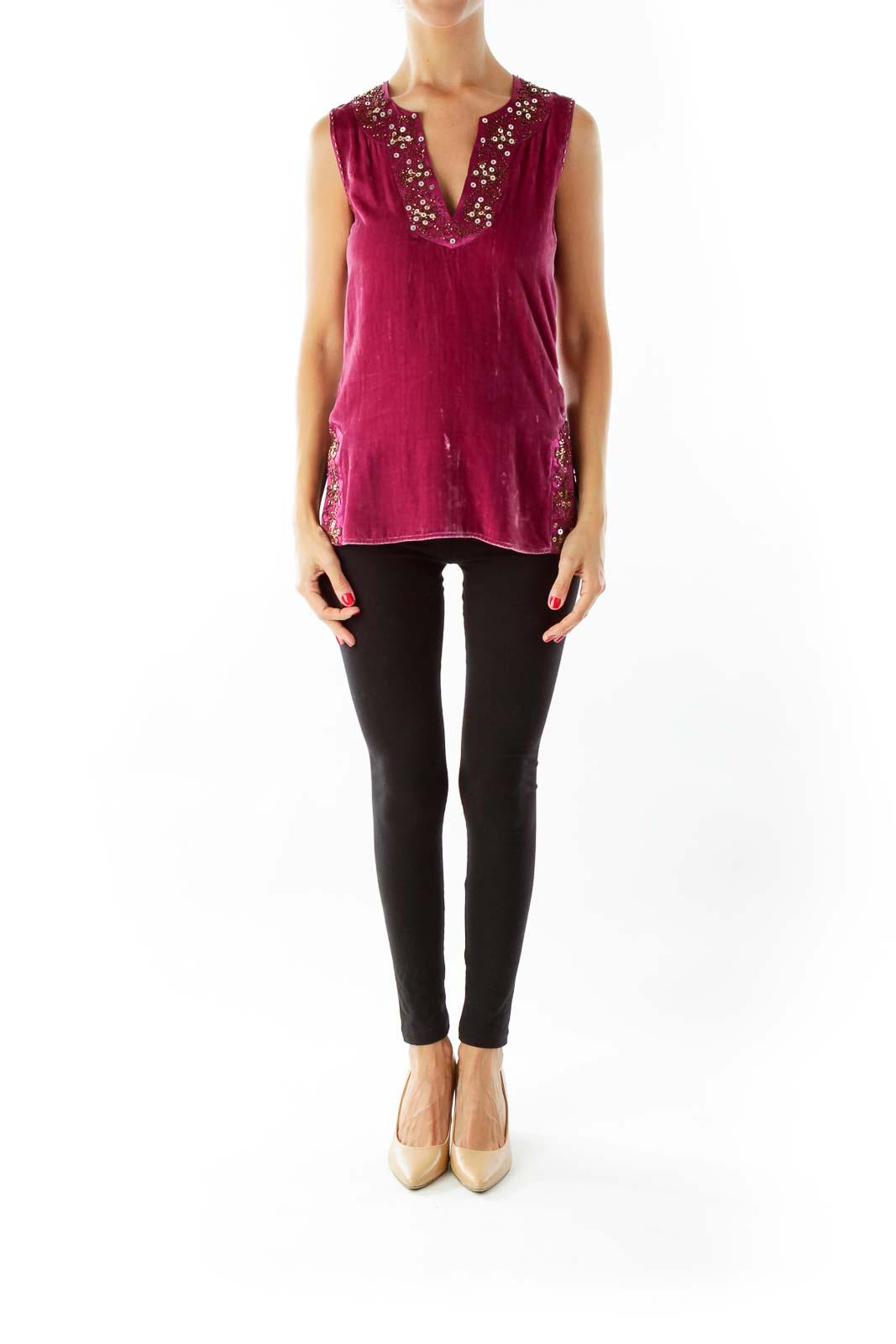 Purple Velvet Sleeveless Top