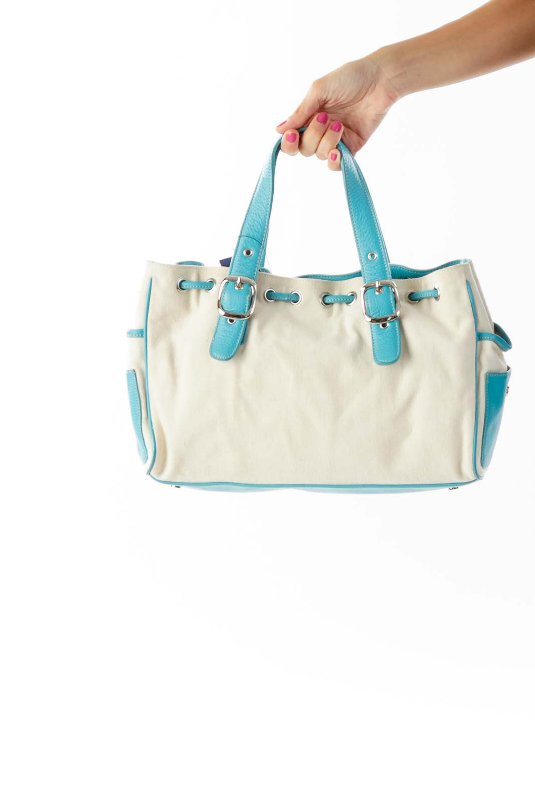 Beige Blue Canvas Satchel