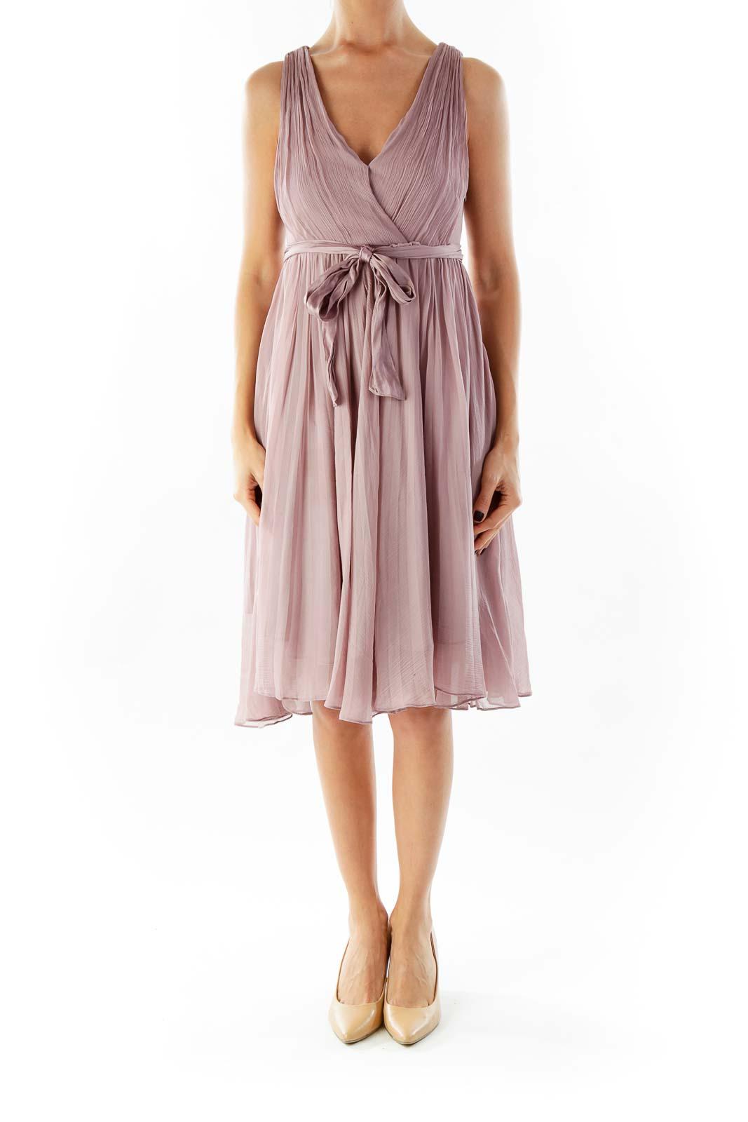 Purple Chiffon Belted Dress