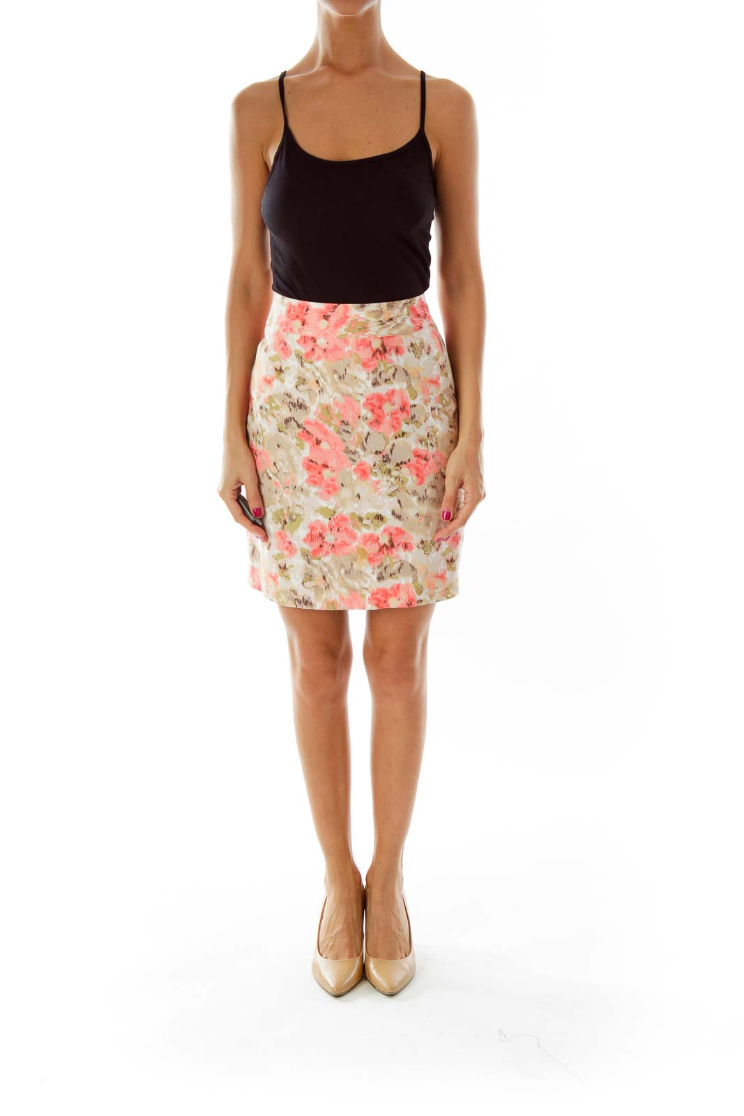 Brown Pink Floral Pencil Skirt
