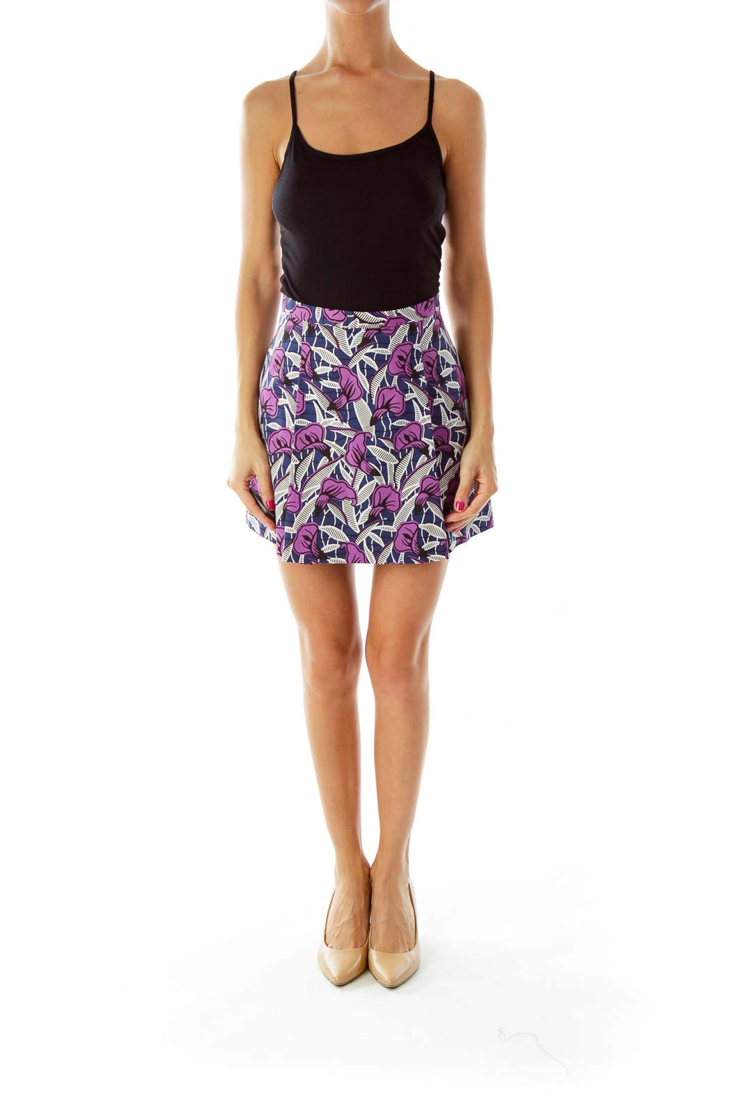 Blue Purple Flower Print Skirt
