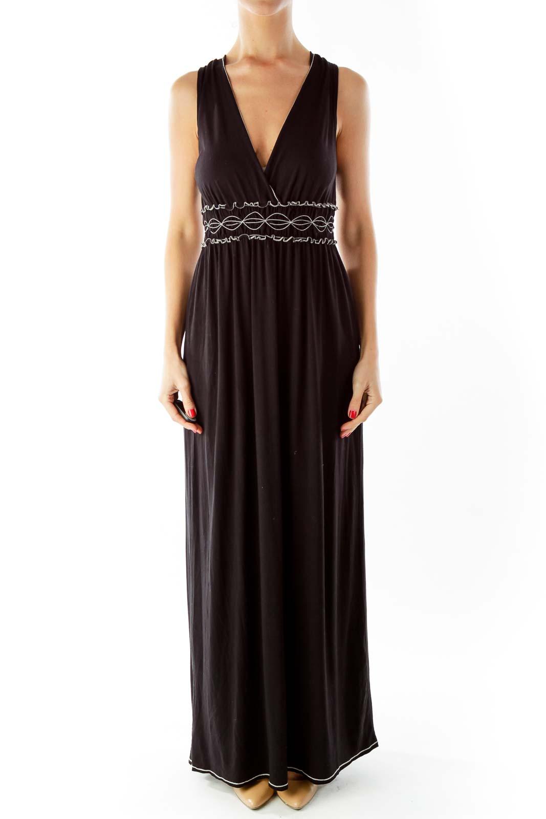 Black White Scrunched V-Neck Maxi Dress