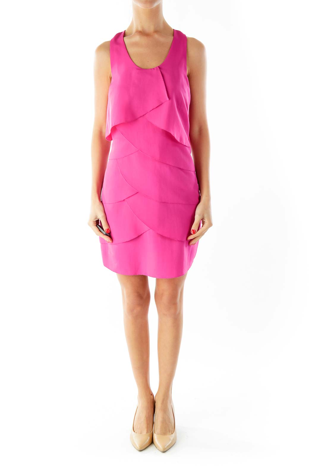 Magenta Round-Neck Ruffled Cocktail Dress