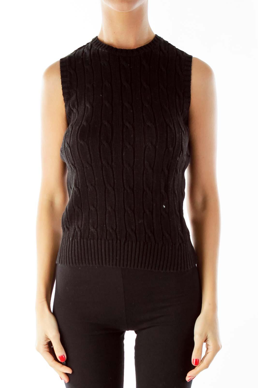 Black Cable Knit Vest