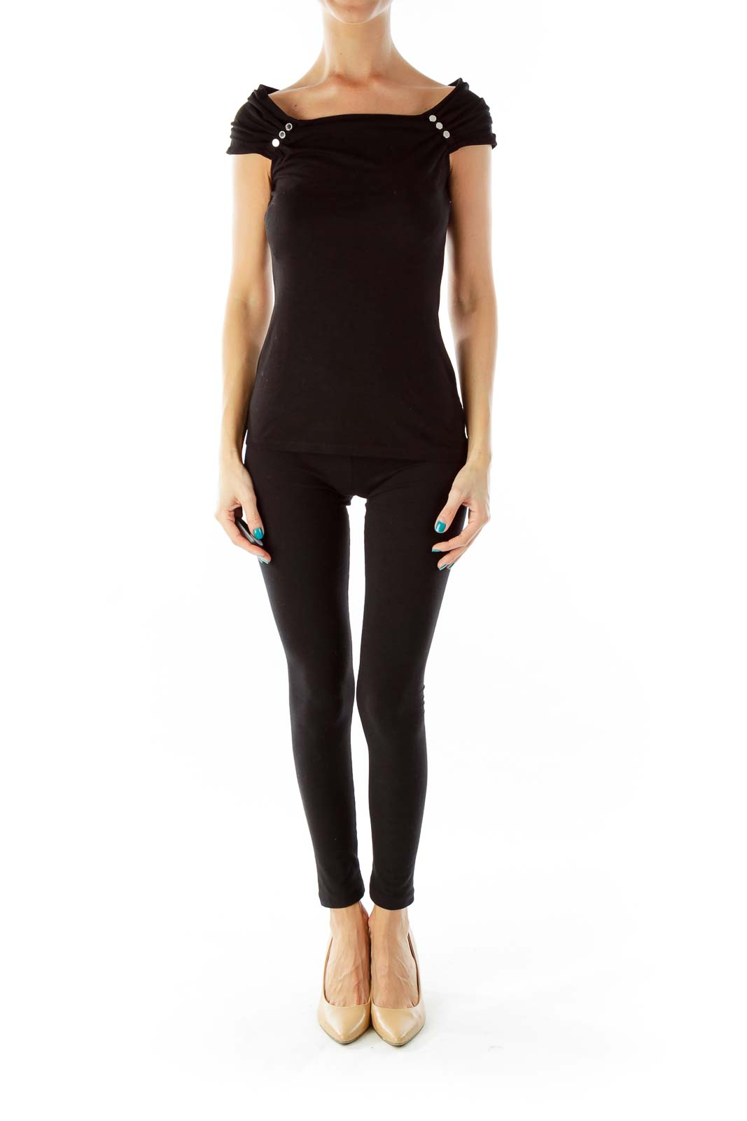 Black Buttoned Fitted Top