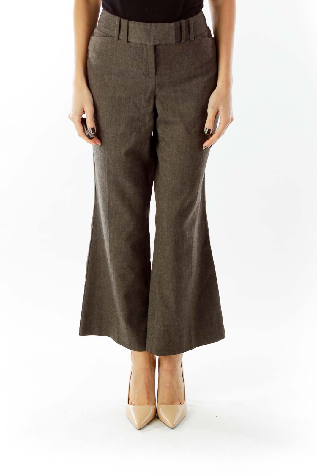 Gray Pocketed Cropped Pants