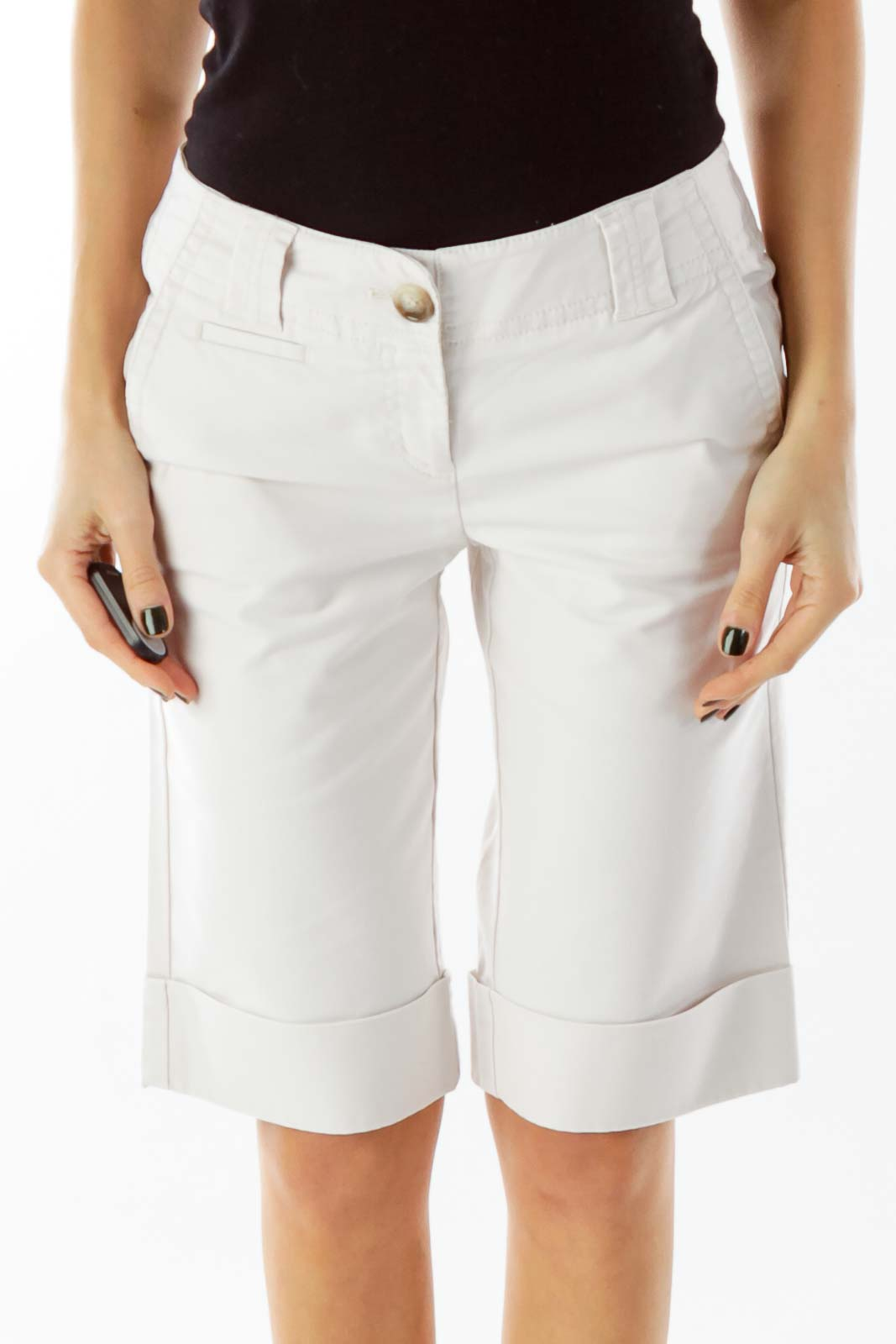 Beige Pocketed Cropped Pants