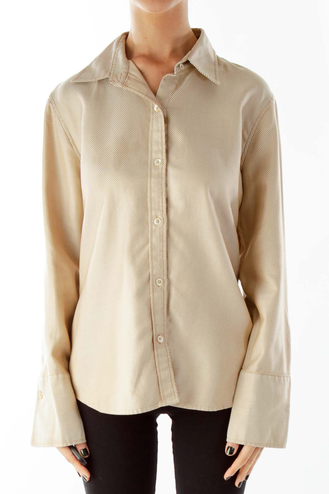 Brown Striped Buttoned Shirt
