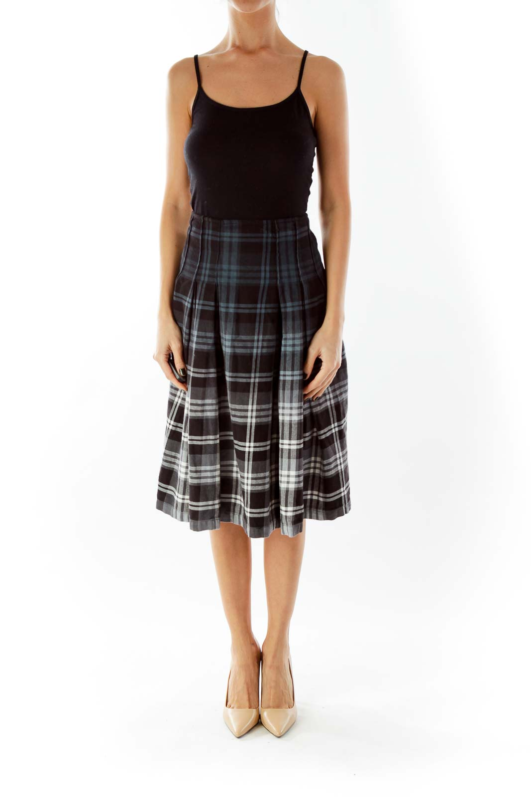 Multicolor Plaid Midi Skirt