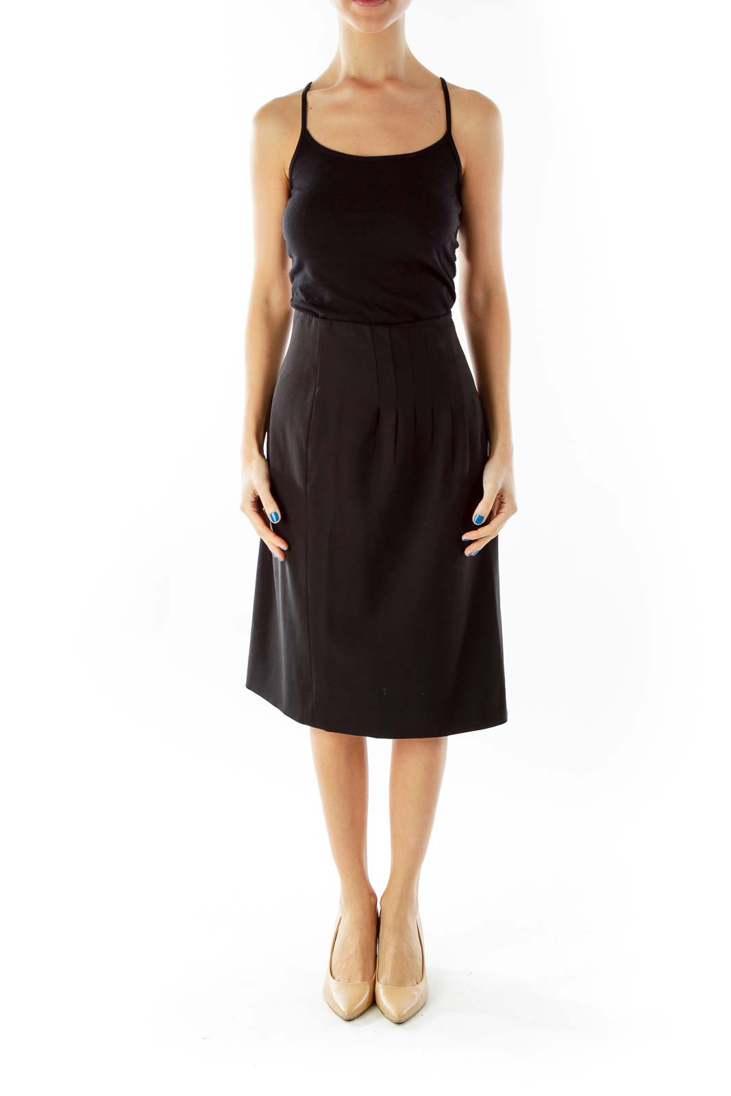 Black Flared Asymmetrical Midi Skirt