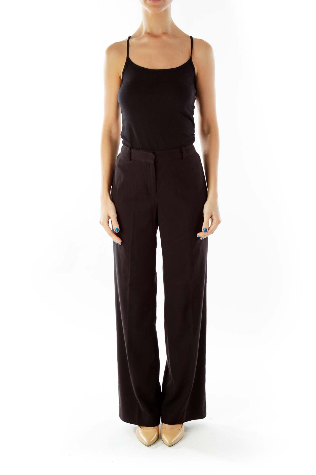 Black High-Waisted Straight-Leg Pants
