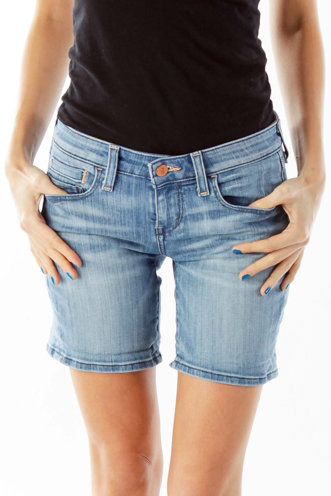 Blue High-Waisted Denim Shorts