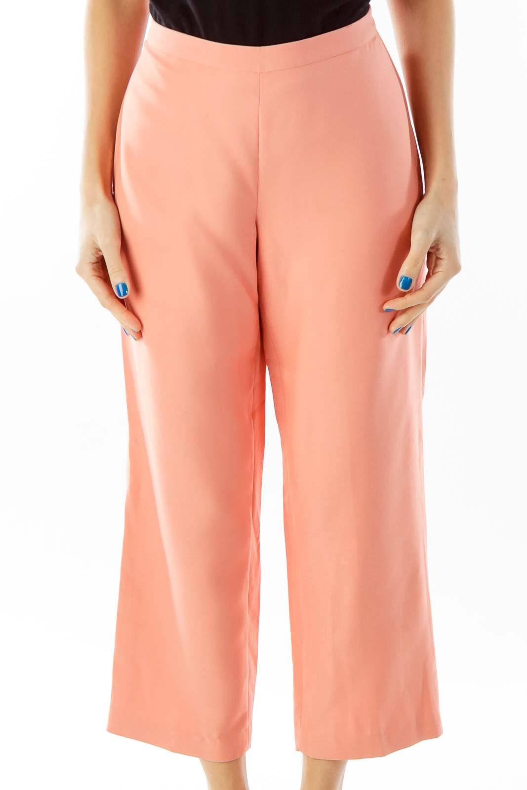 Peach High-Waisted Cropped Slacks