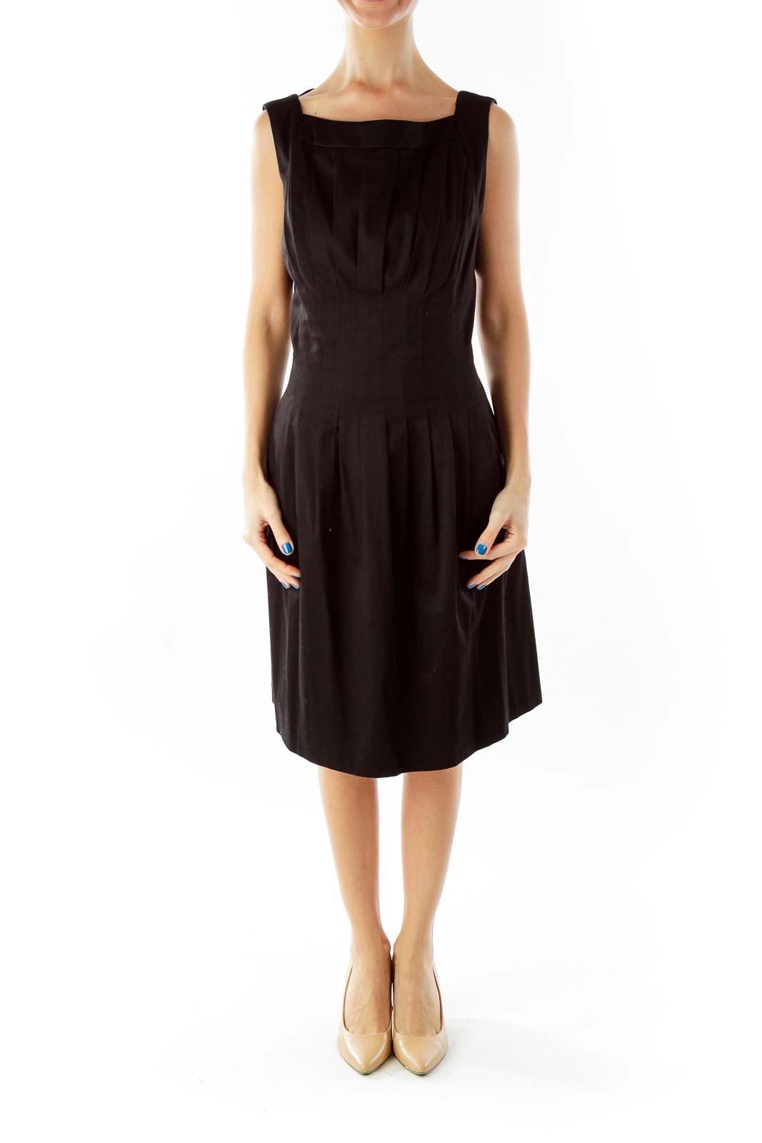 Black Pleated Cocktail Dress