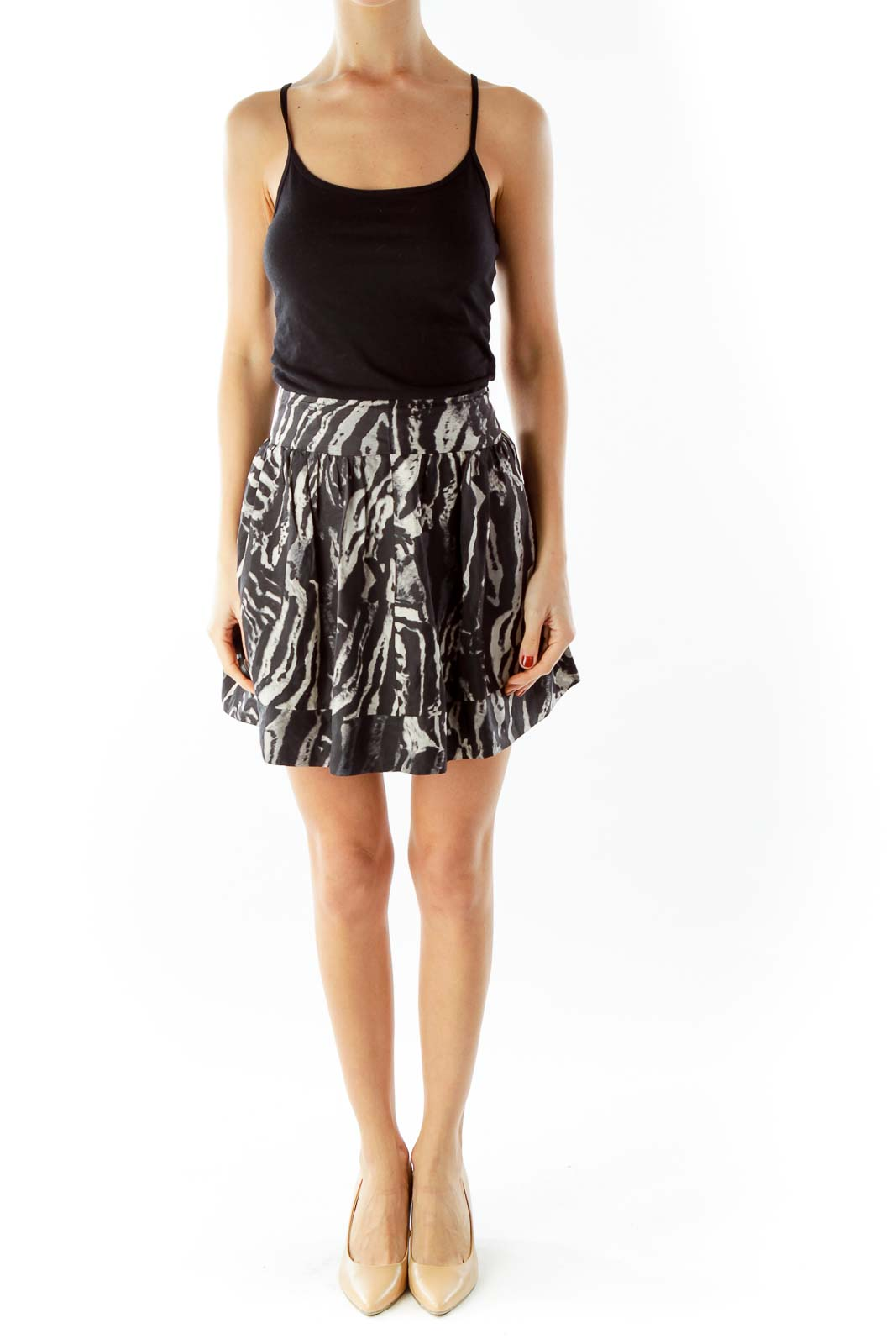 Black Beige Leopard Print Belted Mini Skirt