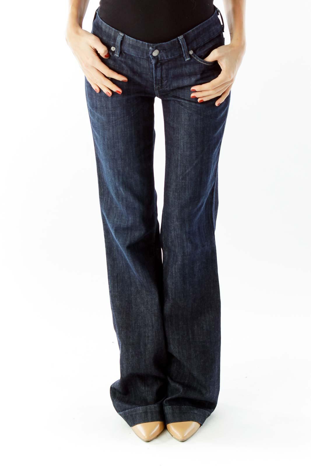 Navy Low Waist Full Leg Jeans