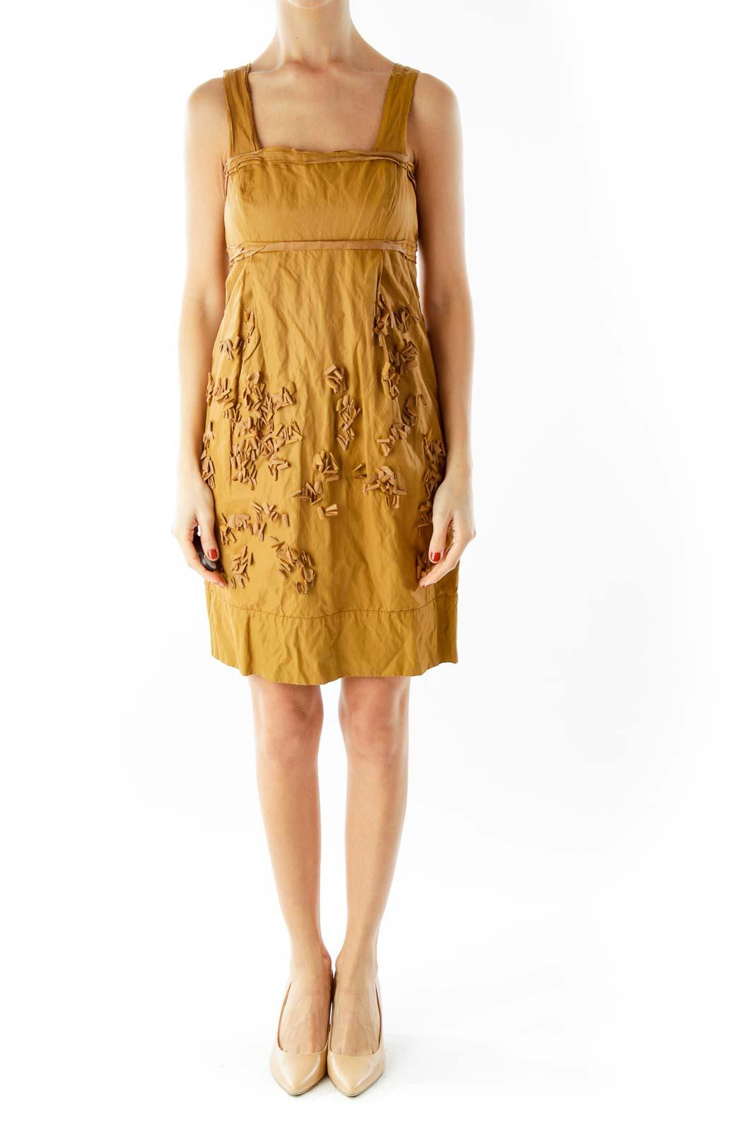 Brown Textured Day Dress