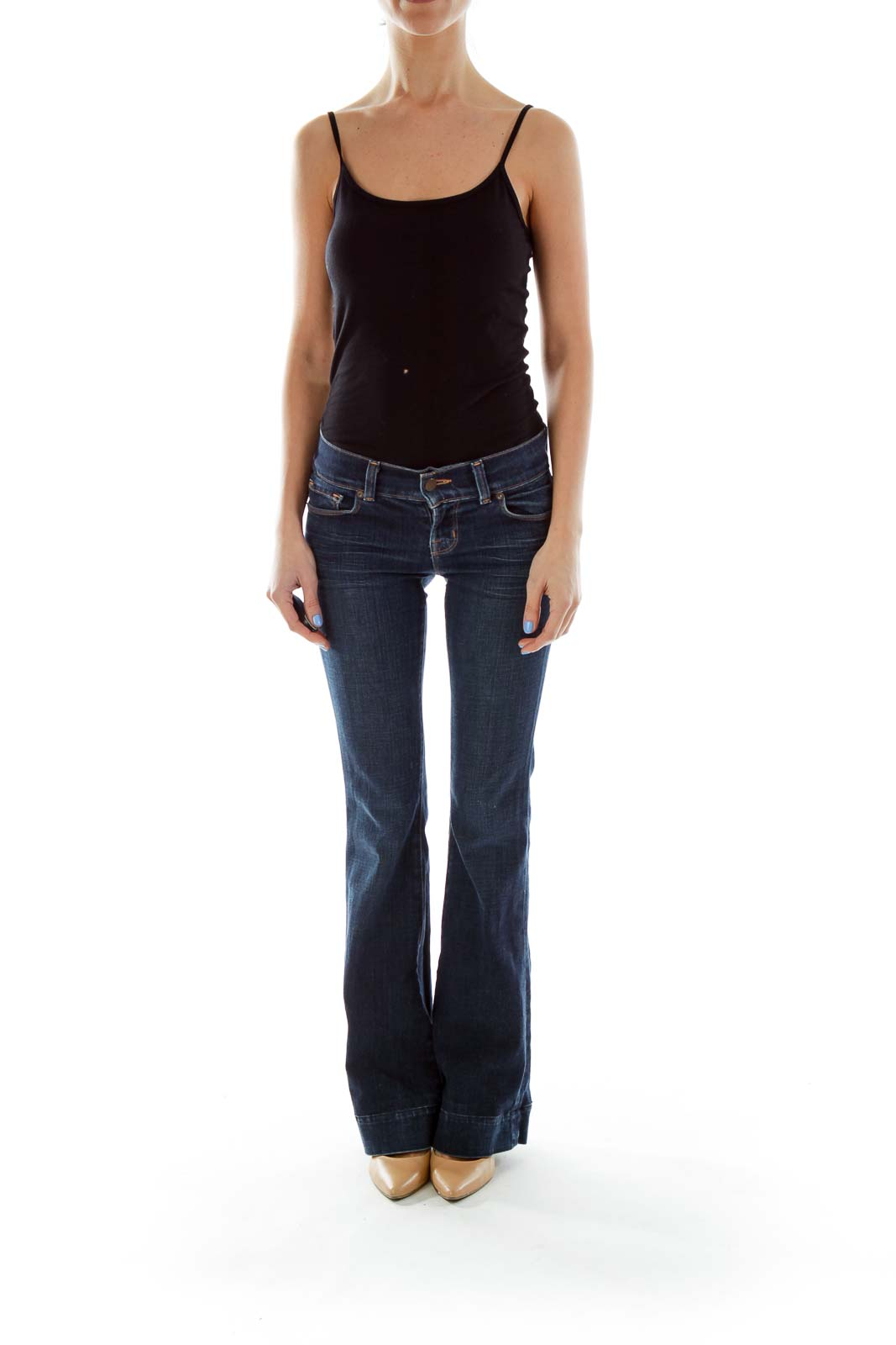 Blue Flared-Leg Jeans