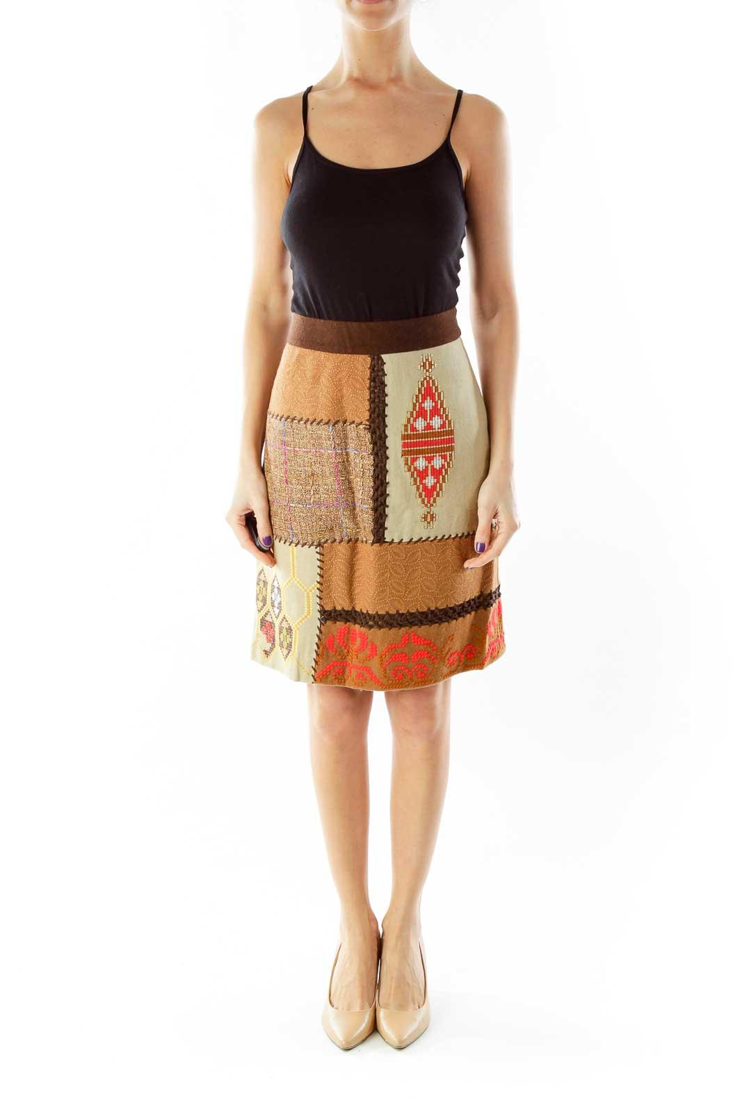 Brown Tribal Pencil Skirt