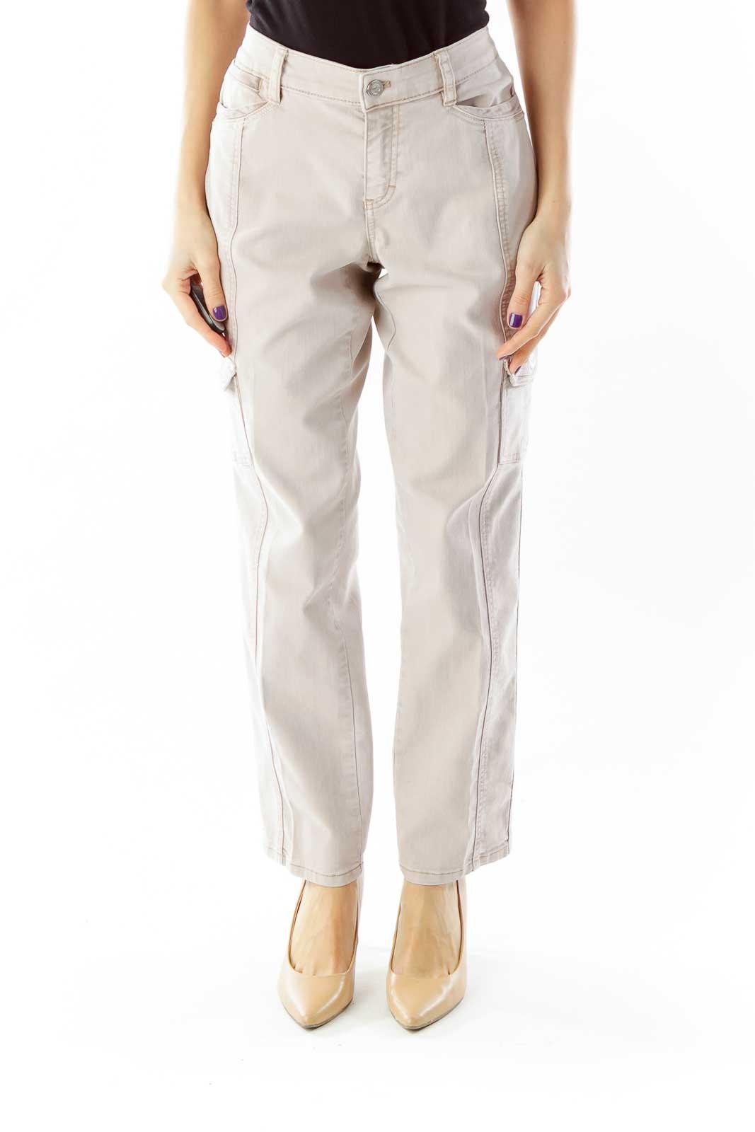 Beige Pocketed Denim Pants