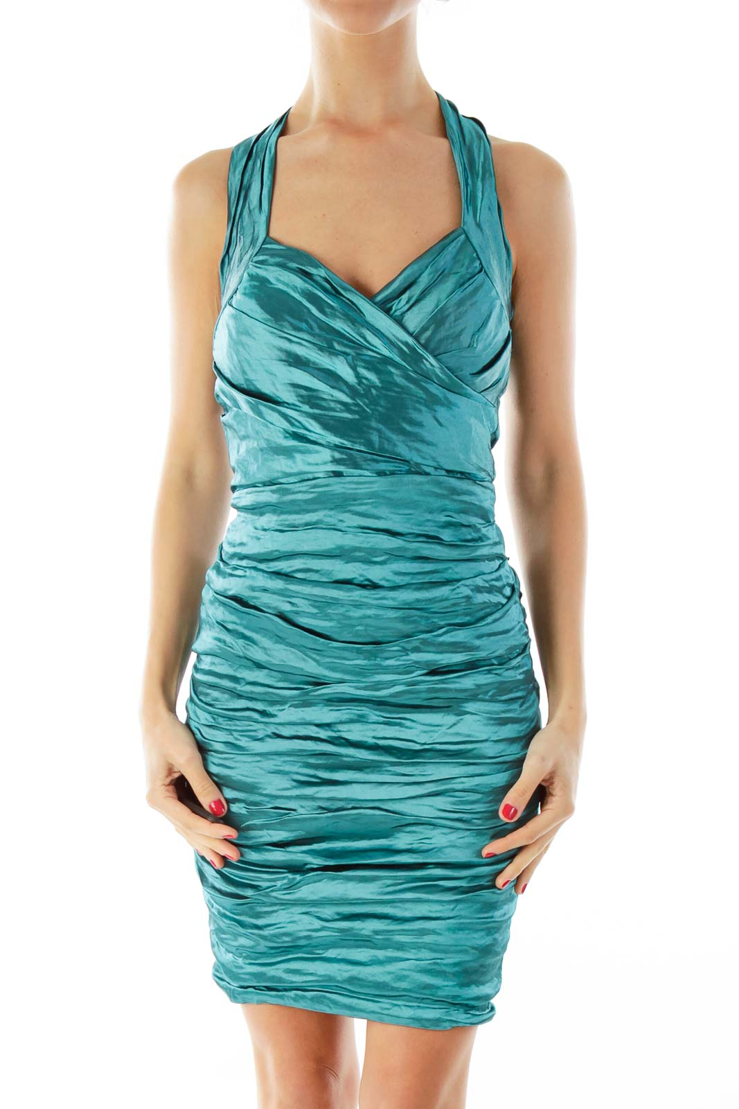 Turquoise Halter Cocktail Dress