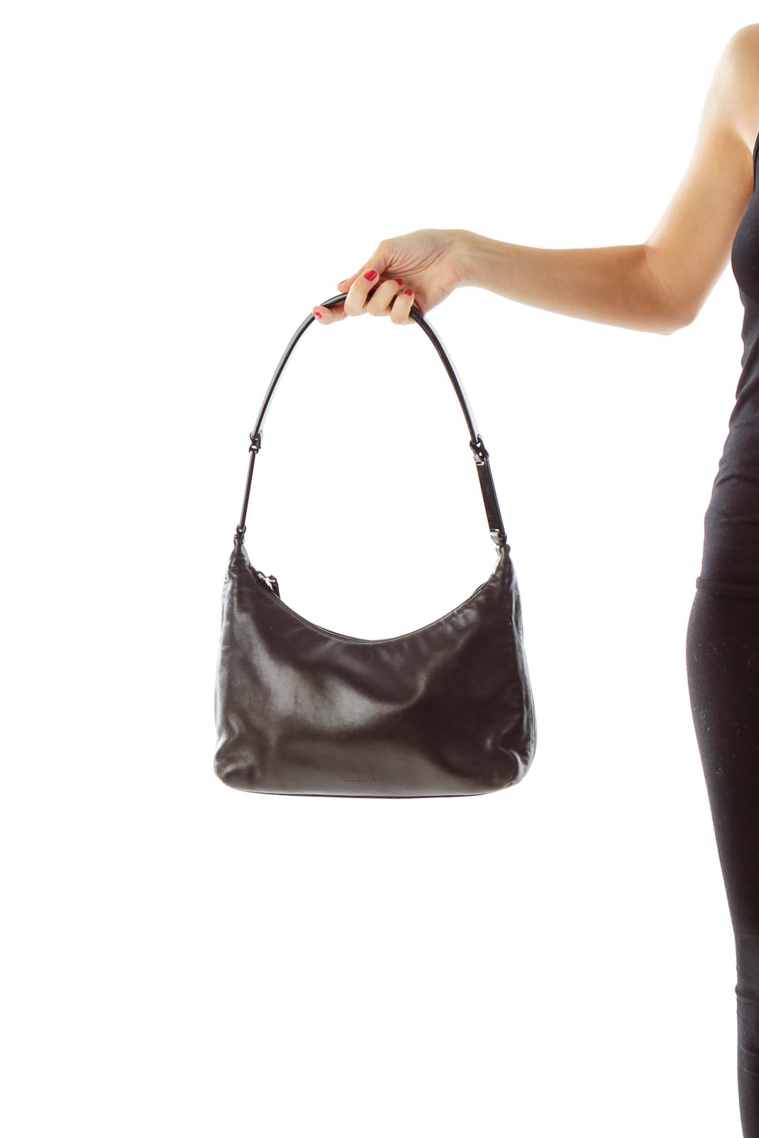 Black Plastic Handle Shoulder Bag