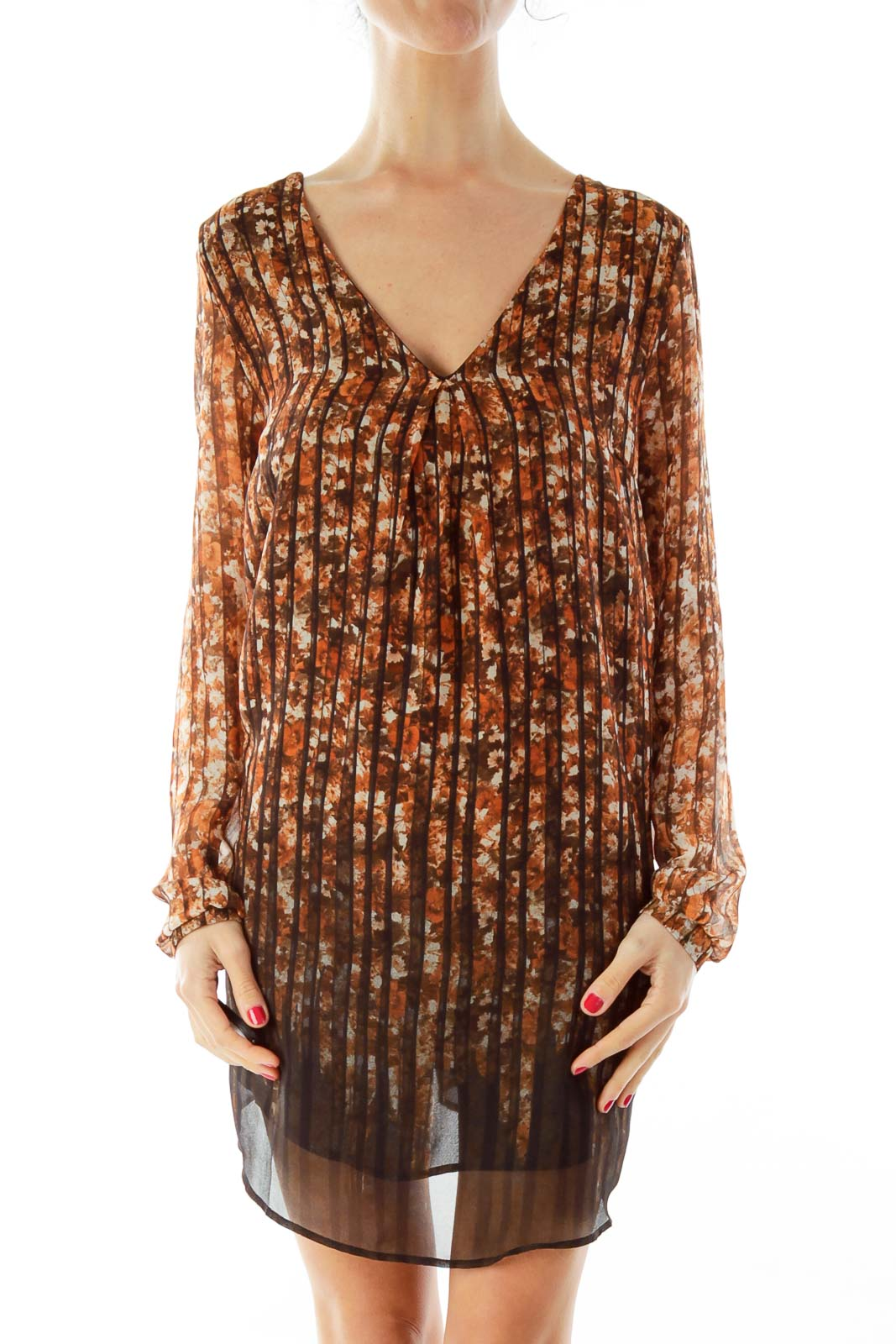 Brown Flower Print Tunic