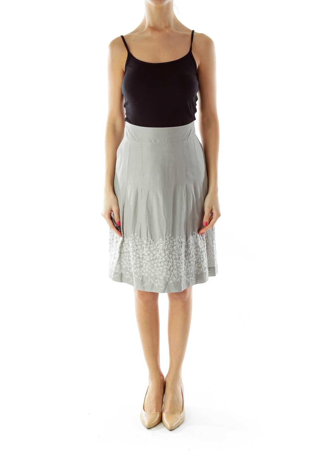 Gray Embroidered Skirt