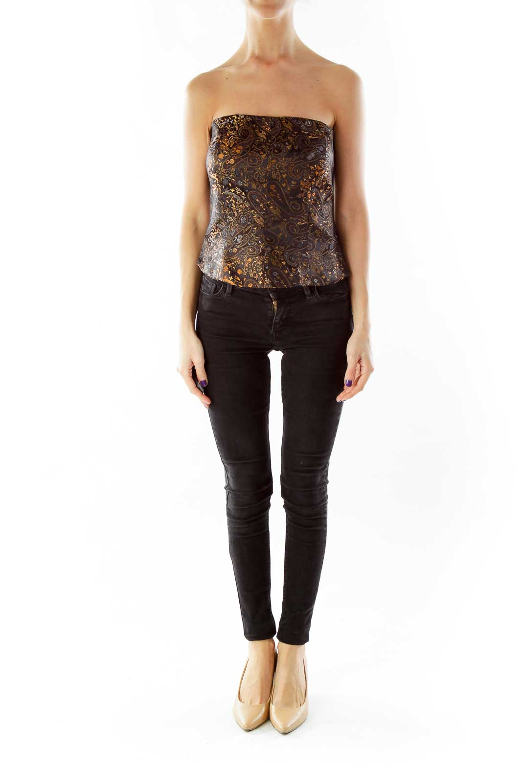 Black Brown Paisley Tube Top