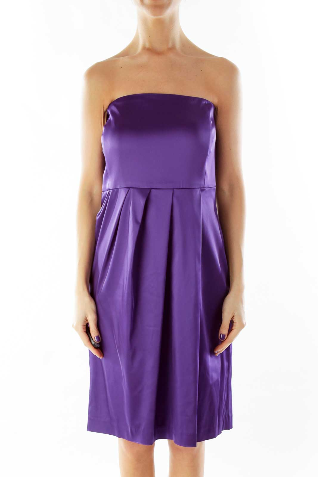 Purple Strapless Cocktail Dress