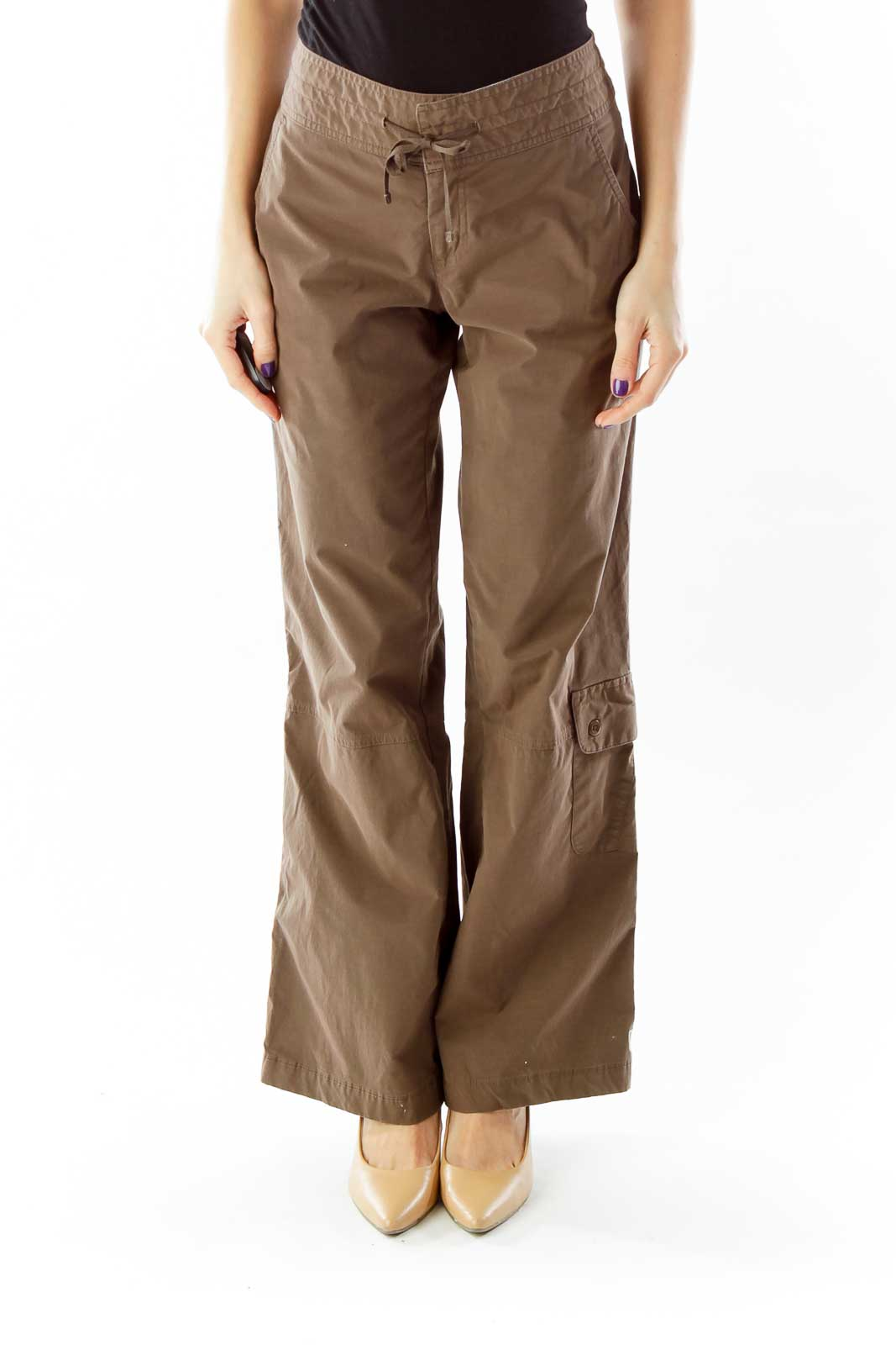 Brown Drawstring Cargo Pants